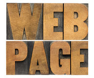 Web page in wood type Stock Photo