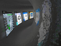 Web pages in the tunnel Royalty Free Stock Images