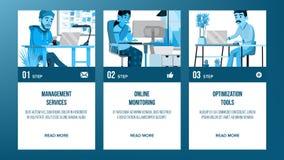 Web-pagina de Vector van het Bannersontwerp Bedrijfs stijl Abstracte Projectdekking Het karakter van het beeldverhaal Ideestructu vector illustratie