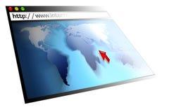 Web-pagina met wereldkaart Royalty-vrije Stock Foto's