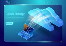 Web-pagina van de wolkenopslag malplaatje Abstract ontwerpconcept Isometrische vectorillustratie die laptop tonen die gegevens le Royalty-vrije Illustratie