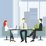 People in chairs at the desk talking, brainstorming and negotiating. Modern business interior. Vector illustration vector illustration