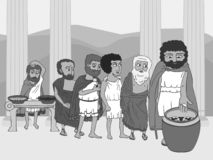 People voting in ancient Greece polis. Black and white funny cartoon vector illustration of democracy origins royalty free illustration