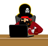 Web pirate and laptop. internet hacker and PC. buccaneer and com Royalty Free Stock Photography