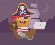 Web pirate with laptop. ?opyright infringement concept. Flat design cartoon style. Vector illustration royalty free illustration