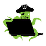 Web pirate Octopus and laptop. poulpe internet hacker and PC. de Royalty Free Stock Image