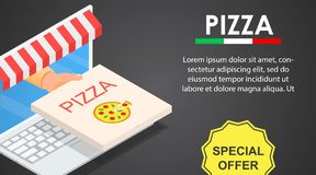 Web pizza offer banner horizontal, isometric style royalty free illustration