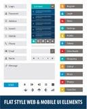 Web plano del estilo y elementos móviles de UI Imagenes de archivo
