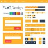 Web plano y elementos e iconos móviles del diseño. Imágenes de archivo libres de regalías