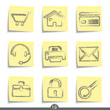 Web post it icons..series no.19. Set of nine web universal post it icons from a series Stock Images