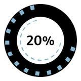Web preloader 20 percent icon, flat style. Web preloader 20 percent icon. Flat illustration of web preloader icon for web design stock illustration