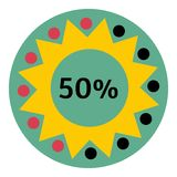 Web preloader 50 percent icon, flat style Stock Image