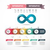 Web Presentation Infographic Design with Infinity Symbol and Technology Icons. Vector Company Data Flow Chart Infographics stock illustration