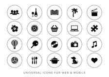Web preta do lazer do vetor e ícones móveis ilustração royalty free