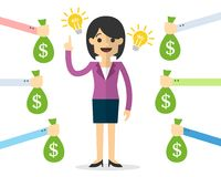 Vector of Business woman with ideas and innovation. Web or print illustration of Vector of Business woman with ideas and innovation Stock Photos