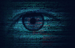 Web Program Code with Human Eye -  Concept Background. Web Program Code with Human Eye -  Blue concept Background Royalty Free Stock Photos