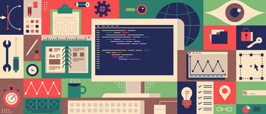 Web programming design flat concept Royalty Free Stock Image