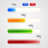 Web Progress Bar. Downloading. Set. Web Progress Bar or downloading Stock Photo