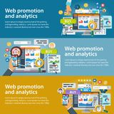 Web promotion and analytics of information. Set of banners in a flat style. Internet commerce, social networks, marketing and rese stock illustration