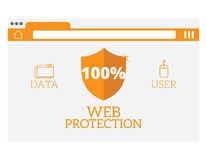 Web protection vector illustration. Flat website online safety, data protection, secure connection, cryptography, antivirus, firewall, cloud file exchange Stock Image