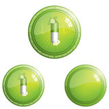Web push buttons. 100 percent herbal pills button icon - design element Stock Photo