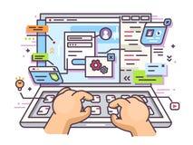 Web que practica surf en el ordenador portátil libre illustration