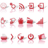 Web Red Icons Set Shadows & Relections on White 2 Stock Photo