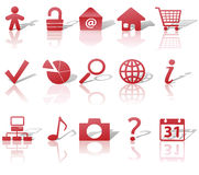 Web Red Icons Set Shadows & Relections on White Stock Photo