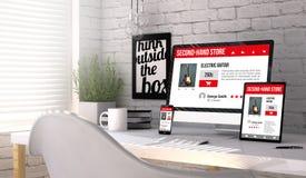 Web responsivo de la tienda de segunda mano en maqueta de los dispositivos Imagenes de archivo
