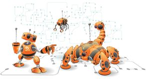 Web robots graphic. Orange internet robots. Part of a series of robots created as fun concepts having to do with Internet functions, such as Search Engines, RSS Stock Photo