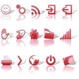 Web rote Ikonen eingestellte Schatten u. Relections auf Weiß 2 Stockfoto
