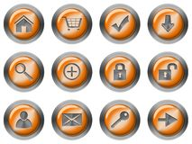 Web round buttons orange Royalty Free Stock Photo