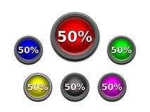 Web Sale 50 % Off Buttons. A set of colored 3D web sale 50% off  buttons Royalty Free Stock Photos