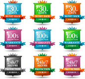 Web satisfaction guarantee badges Royalty Free Stock Image