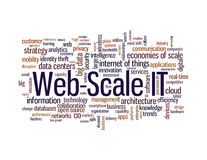 Web-scale it word cloud. With a constantly increasing amount of data and more complex application requirements, talk about so-called Web-scale IT architecture is Royalty Free Stock Images