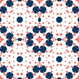 Seamless tile. Ornament in red coral and blue colors. royalty free illustration