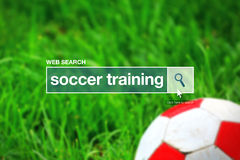 Web search bar glossary term - soccer training Royalty Free Stock Photo