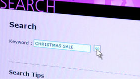Web Search Christmas Sale. Web concept photo Stock Photography