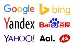 Web search engines logos. Vector collection of the most popular and used web search engines companies logos, including 2015 new google logo, yahoo!, baidu and Royalty Free Stock Photography