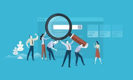 Web search. Flat design business people concept. Vector illustration concept for web banner, business presentation, advertising material Royalty Free Stock Images