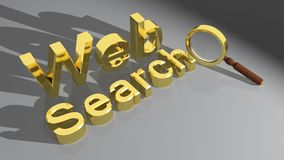 Web Search with magnifier. Web Search - golden like - with a magnifier, on a white plane Royalty Free Stock Image