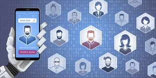 Web Search For People By Robot. Vector illustration on the subject of `Social Media Royalty Free Stock Images