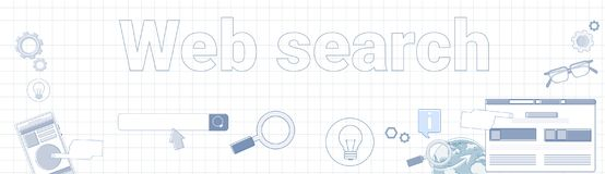 Web Search Word On Squared Background Horizontal Banner Internet Information Concept. Vector Illustration Stock Photos