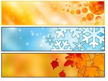 Web Seasonal banners. Summer, winter and autumn blog or web banners or headers for you Royalty Free Stock Photo
