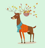 Web. Seasons greeting card with hipster animal. Flat design illustration in vector. Autumn animal concept. For print, postcard, web, social media and t-shirt Stock Image