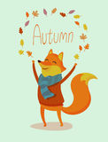 Web. Seasons greeting card with hipster animal. Flat design illustration in vector. Autumn animal concept. For print, postcard, web, social media and t-shirt Royalty Free Stock Photo