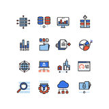Web security cloud computing technology big data analysis line icons with flat elements Royalty Free Stock Photography