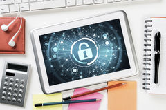 Web security and technology concept with tablet pc on wooden tab Stock Images