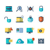 Web security, virus protection, bug checkups vector flat icons. Computer storage and protection service icon illustration Royalty Free Stock Photo