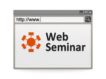 Web seminar. With symbol in the internet browser, three-dimensional rendering Royalty Free Stock Images
